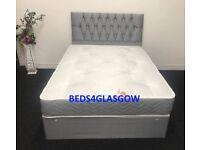 Double grey divan bed wit princess headboard**BRAND NEW**