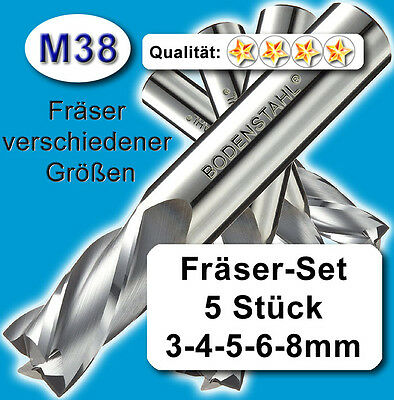FräserSet D=3+4+5+6+8mm Schaftfräser für Metall Kunststoff Holz hochlegiert Z=2