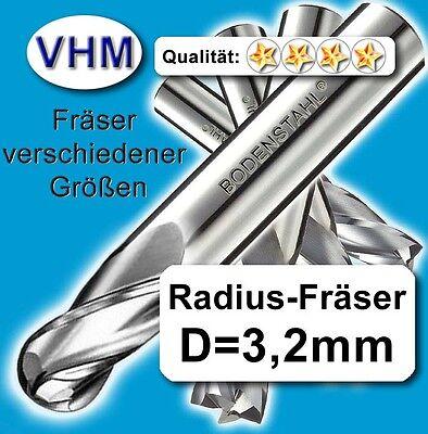 175 Holz (Radiusfräser 3,175mm f. Kunstst. Holz Alu Vollhartmetall scharf ! 40mm Z=2)