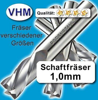 Schaftfräser 1mm f. Kunststoff Holz Vollhartmetall scharf geschliffen 38mm Z=2