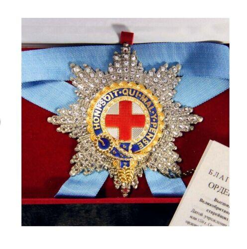 UNITED KINGDOM ORDER AWARD STAR OF THE ORDER OF GARTER SWAROVSKI CRYSTALS - COPY