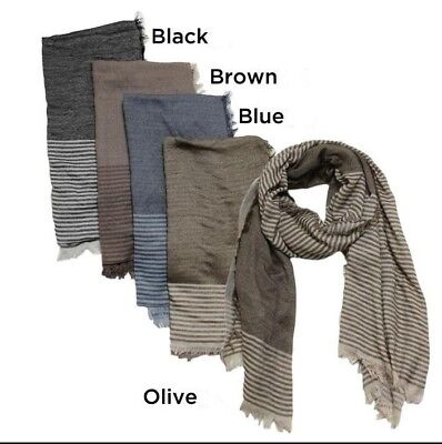 Light-weight woven Stripe and solid w/ Fringe Men Long Scarf Soft Black