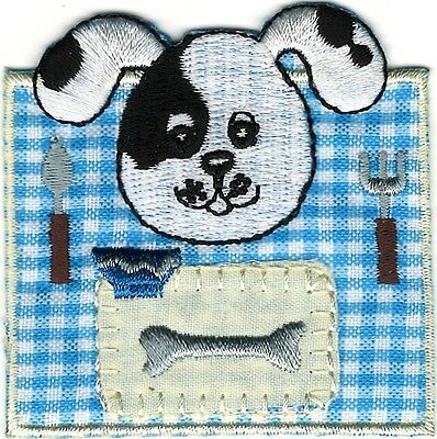 (Dalmatian Blue Gingham Puppy Dog Bone Dinner Embroidery Patch)
