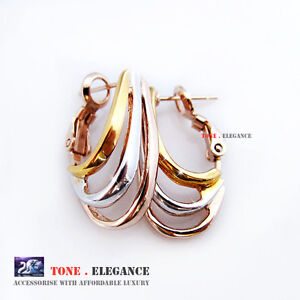 18k white yellow rose gold filled hoop women solid 3 tones earrings jewellery