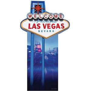 Welcome To Las Vegas Sign Cutout - 188cm (6.2ft) Tall. Casino Party Decoration