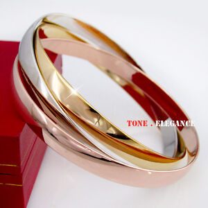 9ct white yellow rose gold GF Russian solid bangle