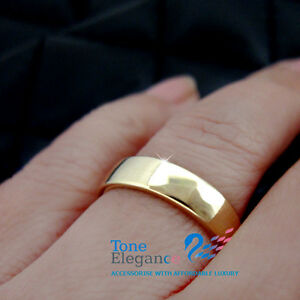 9ct yellow gold GF Engagement wedding mens womens solid plain ring band size 7
