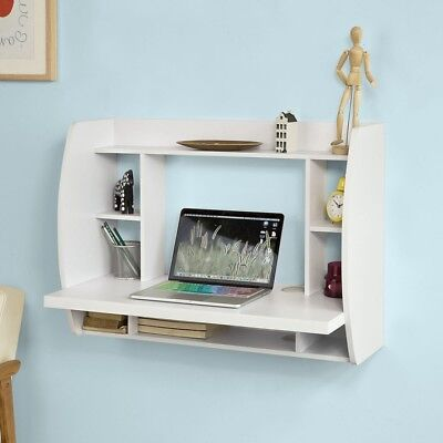 SoBuy Mesa de ordenador Escritorio de pared Mesa de escritorio blanco FWT18-W,ES