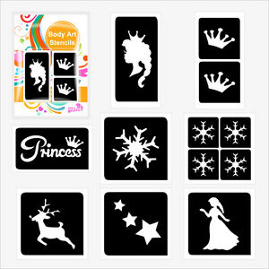 Pack of 30 FROZEN themed GLITTER TATTOO STENCILS for Glitter and Ink Body Art