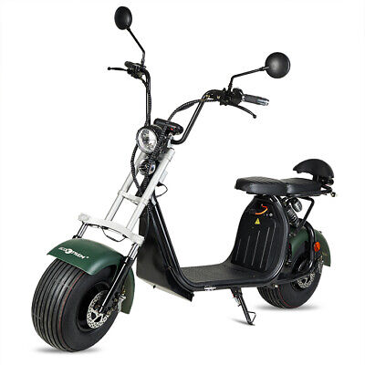 Moto electrica scooter matriculable 1500w bateria 20Ah chopper CityCoco verde