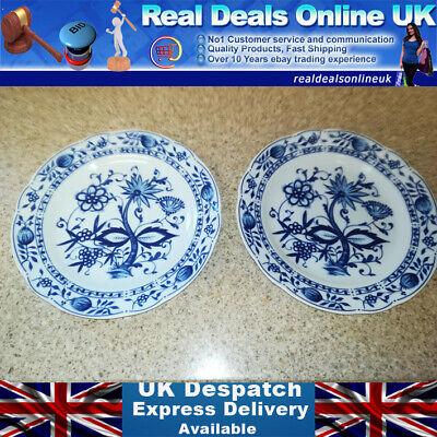 "2x KAHLA, ZWIEBELMUSTER BLUE ONION Pattern, Porcelain, 7 1/2""inch Plates VGC UK"