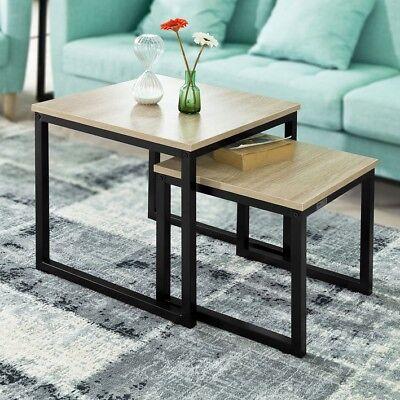 SoBuy Set de 2 mesas auxiliares Mesa Nido de Salón de madera...