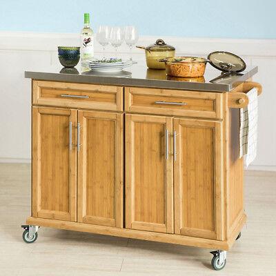 Edelstahl Küche Inseln (SoBuy Kücheninsel Küchenwagen mit Edelstahlarbeitsplatte Küchenschrank FKW69-N)