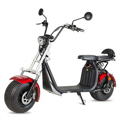 Moto electrica scooter matriculable 1500w bateria 60v 20Ah chopper CityCoco roja