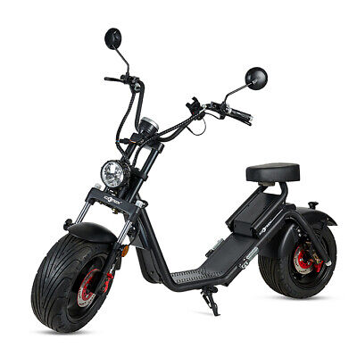 Moto electrica scooter matriculable 1200w 60v 20A bateria CityCoco Negra oferta!