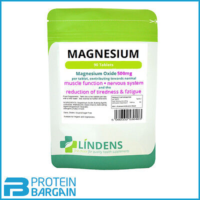 Magnesium Tablets (90 x 500mg MgO) Reduces Tiredness & Fatigue Lindens