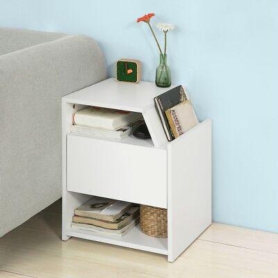 SoBuy® Beistelltisch mit Magazinhalter, Nachttisch mit Schublade, weiß, FRG261-W