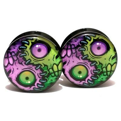 Pair Acrylic Ear Plugs Screw Fit Gauges Plugs Tunnels Earrings Yin Yang Zombies