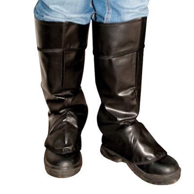 Erwachsene Schwarz Stiefel Abdeckung Oberteile Mittelalterlich Superheld Kostüm