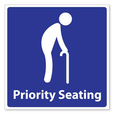 Priority Sitzmöbel Ältere Selbstklebende Sticker Sicherheit Zeichen ()