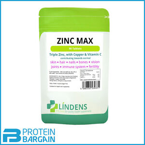 Zinc Max 90 Tabs Tripple Strength With Copper & Vitamin C High Strength Lindens