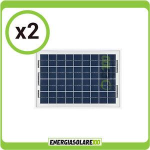 Stock 2 Pannelli Solari Fotovoltaici 10W Pmax 20W barca, baita, nautica  eBay