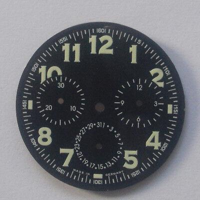 Militär Flieger Chronograph Zifferblatt mit Leuchtziffern neu NOS D=32,5mm