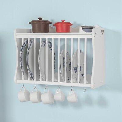SoBuy Porta piatti organizer cucina, piattaia shabby da parete bianco FRG275-W,I