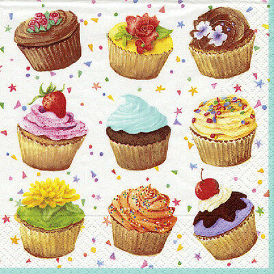 Cupcakes Caspari luxury  paper napkins cocktail tea size 3 ply new 20 in pack
