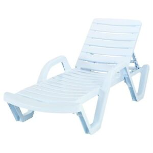 White Plastic Lounge Chairs (2) with cushions