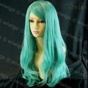Heat-Resistant-Cosplay-Long-Layes-Wavy-Mint-Green-Ladies-Wigs-Skin-Top-UK