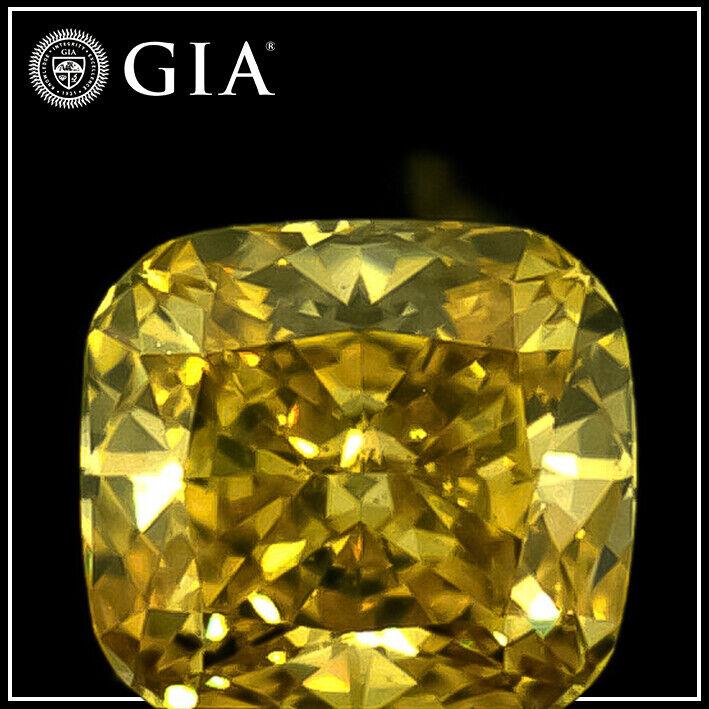 0.24ct Natural Loose Diamond- Fancy Vivid Yellow -VS2-Cushion-GIA Cert