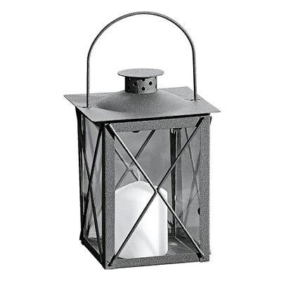 Metall Laterne Farol 20cm grau Gartenlaterne Dekolaterne Windlicht Stalllicht