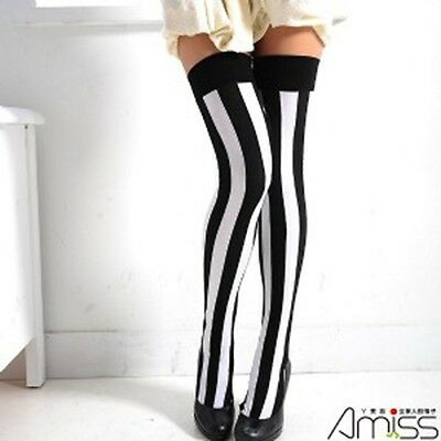 Women Opaque Over the Knee Socks Stripe Thigh High Stockings black/white