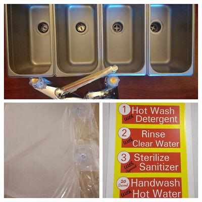 3 Standard 1 Hand Wash Value Set 4 Compartment Portable Concession Sink