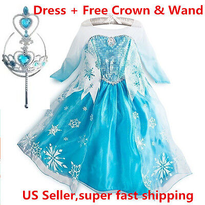 Frozen Princess ELSA Dress Cosplay Party Dress Up + Free Crown & Wand](Elsa Dress Girls)