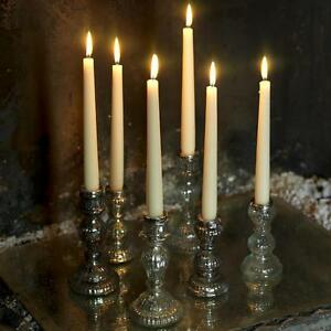 Antique Silver Candle Stick Holder - Mercury / Mercurised Glass - Nkuku Large