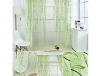 Pair of sheer green ivy/ leaf print sheer voile curtains