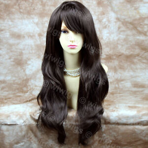 Hermoso-resistente-al-calor-marron-cafe-oscuro-pelucas-senoras-largo-ondulado-de-Wiwigs-UK