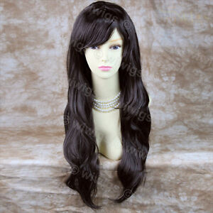 Stunning-Heat-Resistant-Long-Wavy-Dark-Brown-Ladies-Wig-Skin-top-BANGS-WIWIGS-UK
