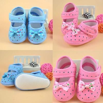 Baby Girl Infant Toddler Prewalker Bowknot Printed Crib Shoes Flower Soft Sole