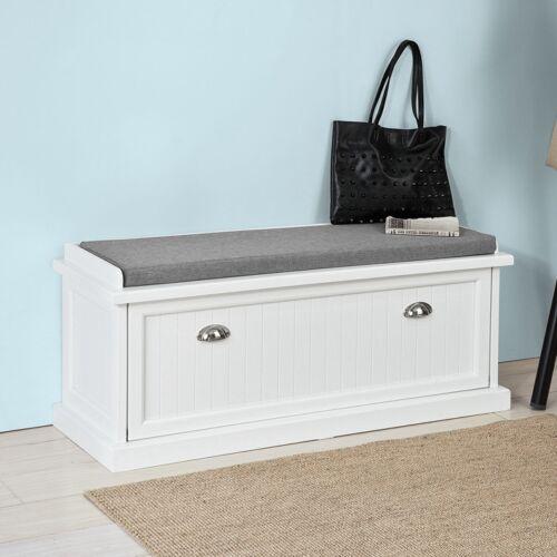 SoBuy® Sitzbank mit Sitzkissen,Bettbank,Schuhschrank,Garderobenbank,weiß,FSR41-W