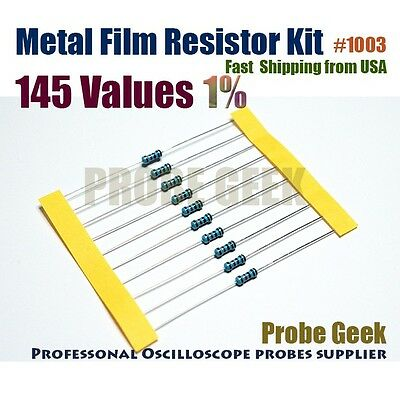 145 Values Total 2900pcs 20pcs Each 1 14w Metal Film Resistor Assorted Kit