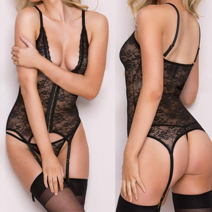 Women Lace Passion Lingerie Deep V Babydoll Sleepwear+Garter Suspender+Briefs