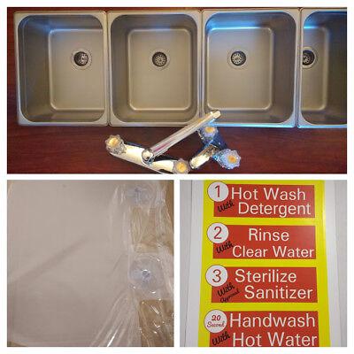 3 Large 1 Hand Wash Value Set 4 Compartment Sink Set Portable Concession Sink