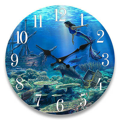 Glass Wall Clock Mermaid 13