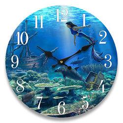 Glass Wall Clock Mermaid 13X 13 Home Wall Decor Coastal Nautical Beach New