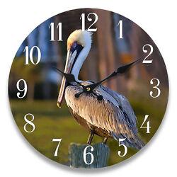 Wood Wall Clock Pelican13X13 Home Wall Decor Marine Coastal Nautical Beach New