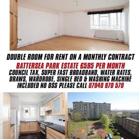 1 Double Room for Rent Battersea Park Estate, All Bills included except Gas & Electricity