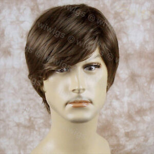 Heat-Resistant-Layered-Long-Bangs-Cool-Man-Wig-Short-Light-Brown-Mens-Full-Wigs